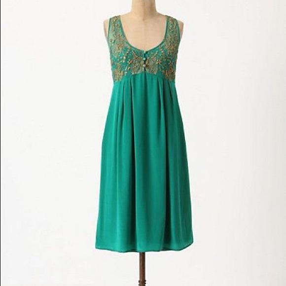 Anthropologie Dresses & Skirts - Anthropologie Lil Flickering Slip Dress Green 2